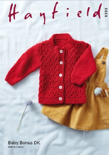 Baby's Round Neck Cable Cardigan in Hayfield Baby Bonus DK Knitting Pattern , Hayfield 5335